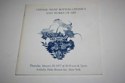 Old Sotheby's New York Catalogue - Chinese Snuff Bottles, Ceramics, Art - 1977