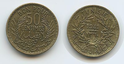 G13937 - Tunesien 50 Centimes AH1360 (1941) KM#246 French Protectorate Tunesia