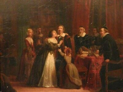 OLD ANTIQUE Fine Art OIL PAINTING 19th Century Artwork Artist signed dated 1847