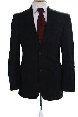 Barney Cools Mens Notched Collar Two Button Blazer Jacket Blue Wool Size 36
