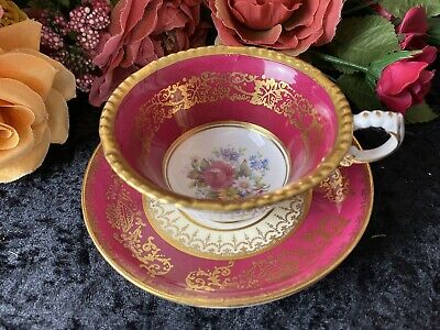Paragon Maroon Cup and Saucer Duo Flowers Vintage Antique Cabinet Duo - VGC