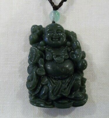 Chinese Finely Carved Green Jade Buddha Pendant