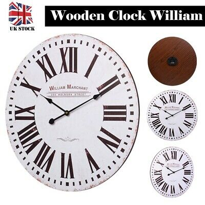 60cm Extra Large Vintage Wooden Round Wall Clock Retro Antique Distressed Chic