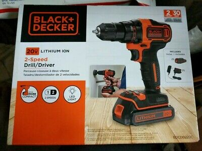 BLACK+DECKER 20V Max Lithium Cordless 3/8 in Drill/Driver w Battery and Charger