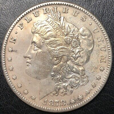 1878 S Morgan Silver Dollar Almost Uncirculated Details Slightly Cleaned