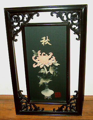 ORIENTAL Chinese Wall Art Panel Lacquered Carved Wood w/ JADE & SOAPSTONE Signed