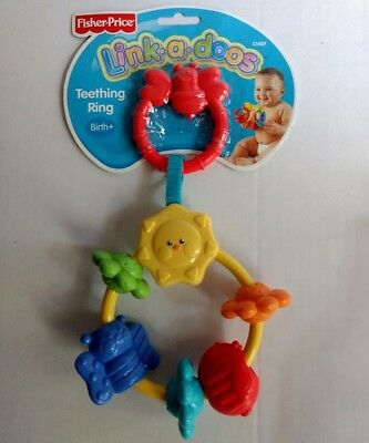 Fisher Price Link-a-doos Baby Toy Texture Teething Ring Take Along Birth Primary