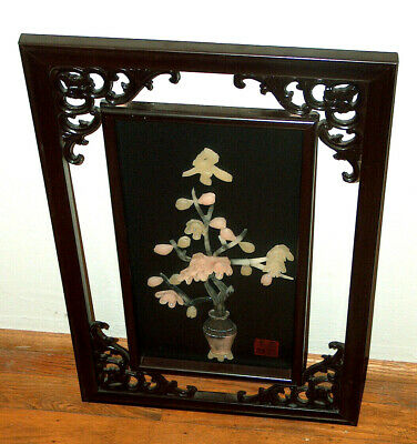 Chinese ORIENTAL Wall Art Panel Lacquered Carved Wood w/ JADE & SOAPSTONE Signed