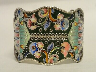 rare antique Russian silver  cloisonne shaded enamel napkin ring circa 1908-17