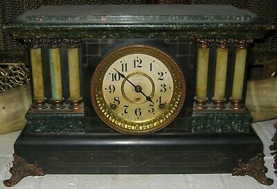 Antique Seth Thomas Mantle Clock Pendulum Green Black Adamantine Lions Heads