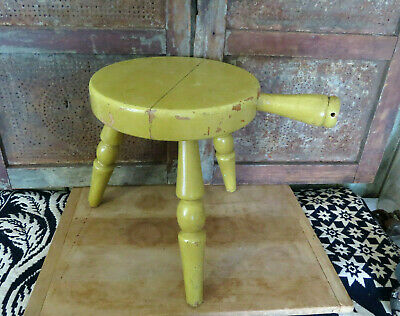 Vintage AUTHENTIC FURNITURE Wooden Milking Stool Old Mustard Yellow Paint Signed