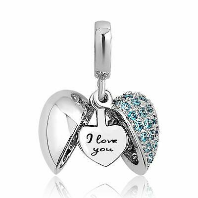 Pandora Charms Bracelet I Love You Heart Bead Women Valentine's Gift Bridal Gift