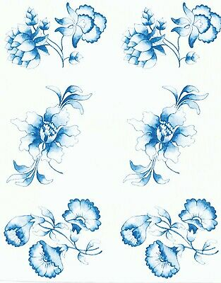 "Hummingbird Flower Blue Sky 4 pcs 7-1//2/"" Waterslide Ceramic Decals Xx"