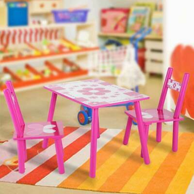 3Pcs Children Wood Table and Chairs Nursery Garden Set In/Outdoor Staudy Table