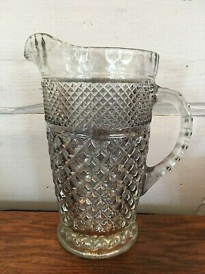 """Vintage Anchor Hocking Wexford Smoke Glass 64 oz Iced Tea Water Pitcher 9"""" Tall"""