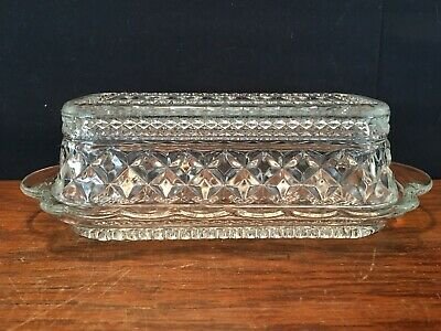 Vintage Anchor Hocking Clear Glass Wexford Pattern Butter Dish with Lid