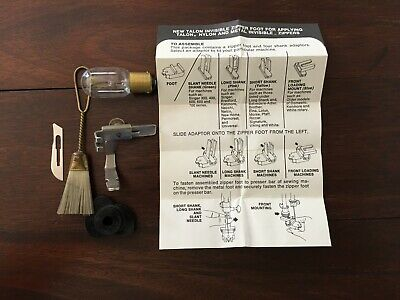 Vintage Deluxe Zig Zag Sewing Machine Attachment Zipper Foot In Original Box