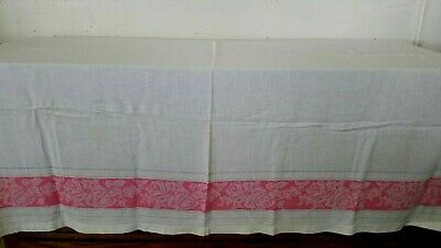 """Vintage Pink Floral Stripe on White Table Cloth Measures 60"""" x 54"""""""