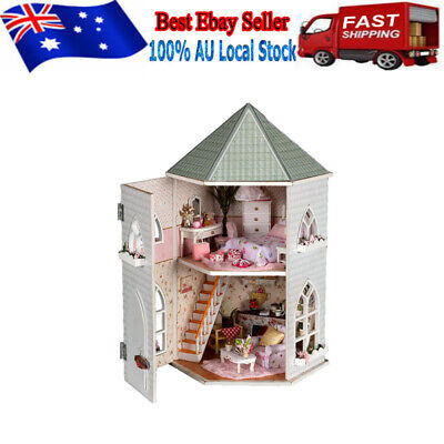 Wooden Doll House Vintage Cottage Kit Wood Dollhouse DIY Girls Our Love au