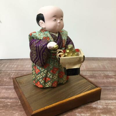 Japanese tradition antique Vintage Wood grain doll 晃月作 福分福助 Lucky doll japan m