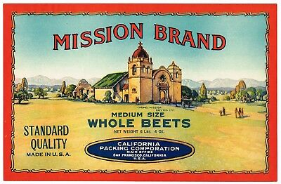 1930S Vintage Beet Crate Can Case Label Carmel California Mission San Francisco