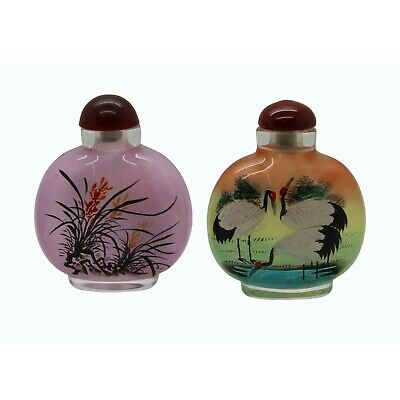 Lot of Two Clear Glass Inside Painting Crane and Flower Snuff Bottle n471