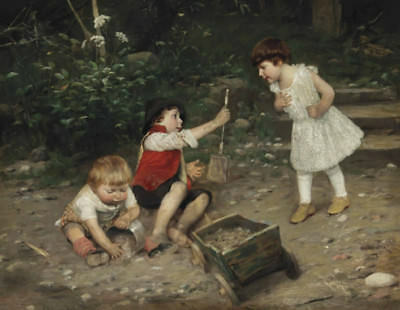 "perfect oil painting handpainted on canvas""children playing ""@12411"