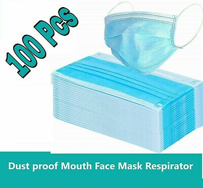 100 PCS Disposable Face Mask Industrial  Surgical Medical Dental 3-Ply
