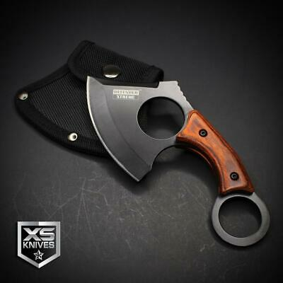 Black Tactical STRAIGHT EDGE Fixed Blade CLEAVER AXE Hunting Knife KARAMBIT 6.5""