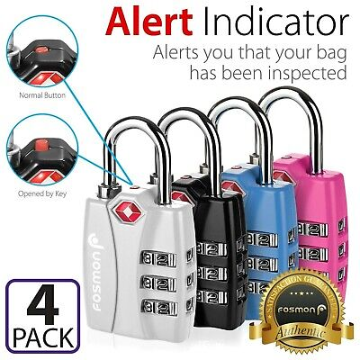 4x [TSA Approve] 3 Digit Alert Indicator Travel Luggage Bag Lock Padlock Reset