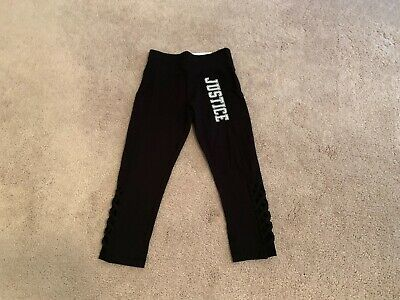 NWT Girl's Justice Active Black Leggings Pants Size 8 Fall Winter JUSTICE Cute!