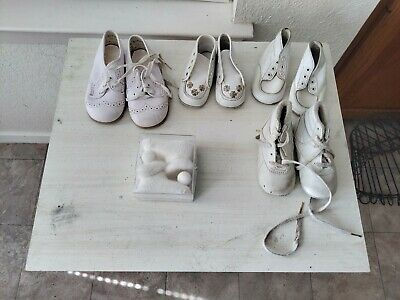 Lot of Vintage White Leather Baby Shoes