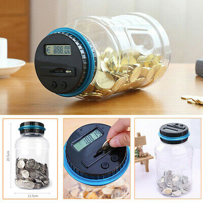 Piggy bank coin counter digital money jar counting LCD electronic display DO