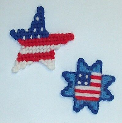 2 New Handmade Patriotic Star Flag Magnets 4th of July Red White Blue