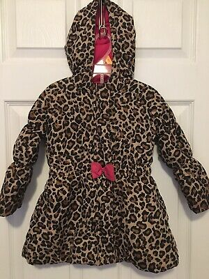 Girls Size 3 Leopard Print Coat With Hood 1989 Place