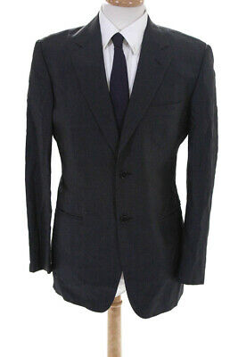 Cerruti 1881 Mens Two Button Notched Lapel Blazer Jacket Gray Wool Size IT 50
