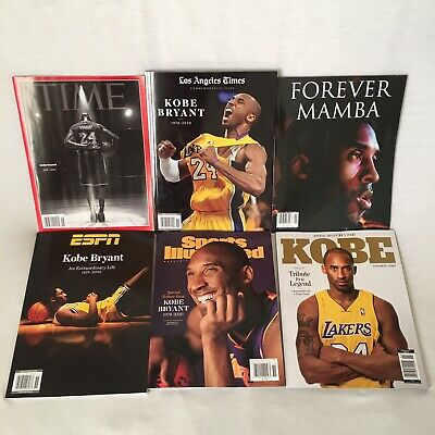 KOBE BRYANT Tribute Magazine lot 6 MAGAZINES   ESPN, LA Times, Time , SI *NEW*