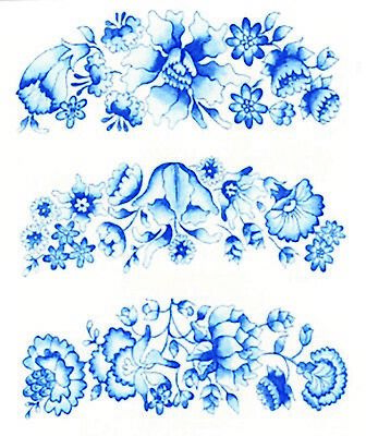"Violet Forget Me Not Flowers 4 pcs 2-3//4/"" X 1-3//4/""  Waterslide Ceramic Decals Xx"