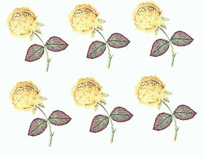 """6 Yellow Rose  Green Leaves 1-1/4"""" X 1"""" Waterslide Ceramic Decals Bx"""