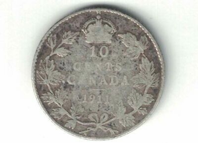 Canada 1911 10 Cents Dime King George V Sterling Silver Canadian Coin