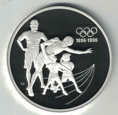 CANADA 1992 $15 OLYMPIC 1 OZ STERLING SILVER PROOF COIN COACHING TRACK 39mm