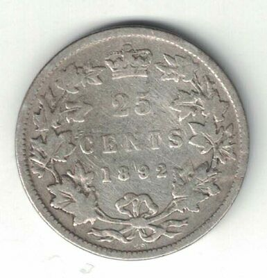 Canada 1892 Twenty Five Cents Quarter Queen Victoria Sterling Silver Coin