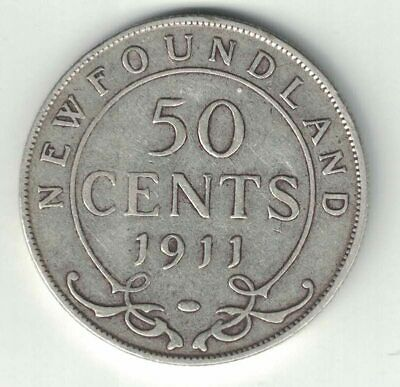 Newfoundland 1911 50 Cents Half Dollar King George V Sterling Silver Coin