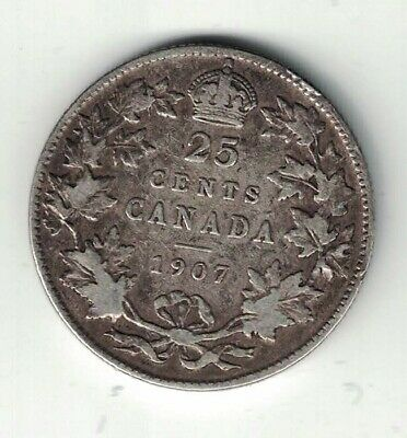 Canada 1907 Twenty Five Cents Quarter King Edward Vii Sterling Silver Coin