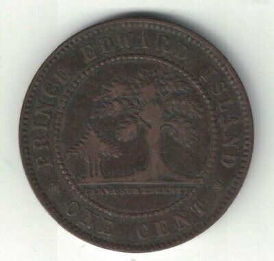Prince Edward Island 1871 One Cent Penny Queen Victoria Canadian Coin