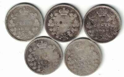 5 X Canada 5 Cent Small Nickels Queen Victoria Sterling Silver Coins 1871 -1888