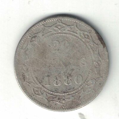 Newfoundland 1880 20 Cents Queen Victoria Canadian Sterling Silver Coin
