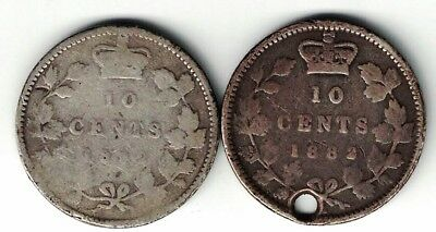 2 X Canada Ten Cents Dimes Queen Victoria Sterling Silver Coins 1882H Holed 1892