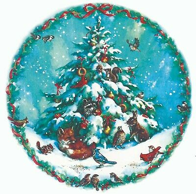 Christmas Tree Nature Snow Animals Select-A-Size Waterslide Ceramic Decals Xx