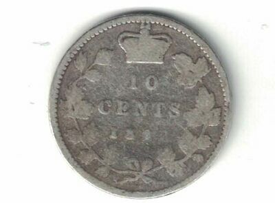 Canada 1892 Small 9 Ten Cents Dime Queen Victoria Sterling Silver Coin Canadian